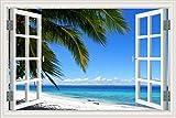 Sonnenuntergang Sonnenschein Blauer Himmel Wolken Strand Meereswellen Kokosnuss Palme Landschaft 3D...