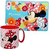 alles-meine.de GmbH 2 TLG. Set _ Unterlage + Trinkbecher / Henkeltasse - Disney - Minnie Mouse - BPA...