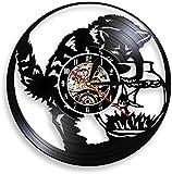 Black Cat Fishing Catcher Wanduhr Kitty Cat Fishing in Fishbowl Vinyl Schallplatte Wanduhr Aquarium...