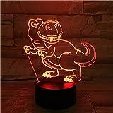 Neuheit Einzigartiges Tier Cartoon Dinosaurier Park Farben Dekoration Nachttisch 3D Illusion LED...
