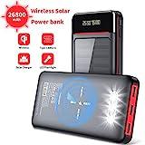 Aikove Wireless Powerbank 26800mAh Solar Externe Handy Akku mit (USB C&Micro) Zwei 2,4A Eingänge...