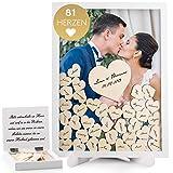 Fairytale Wedding © Gästebuch Hochzeit Holz inkl. 81 Herzen - Herz Hochzeitsgästebuch mit...