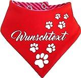 KLEINER FRATZ gestreiftes Hunde Wende- Halstuch (Fb: rot-Fuchsia/rot) (Gr.2 - HU 31-35 cm) mit Ihrem...