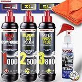 Shiny Freaks Auto Politur Set - Menzerna Autopolitur 250ml: Super Heavy Cut Compund HC1000 + Medium...