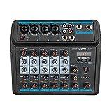 EXCLVEA Mischpult 6-Kanal-USB-Mischkonsole Digital Audio-Mixer Unterstützt BT-Verbindung für...