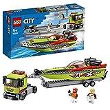 LEGO 60254 Rennboot-Transporter City LKW-Spielzeug mit Anhnger und Schnellboot, schwimmendes...