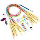 LIHAO 10 Paar Rundstricknadel Stricknadeln Bambus Set mit Zubehör 3.5-10.0mm für Handarbeit