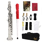 ammoon Sopran-Saxophon Saxophon Bb Messing lackiert Krper und Schlssel mit Schmier-Korkfett