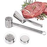 XREXS Fleischklopfer und Küchenzangen Set aus Edelstahl - Fleischhammer Zweiseitiger und Einteilige...