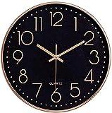 Foxtop Schwarz Wanduhr Leise, Nicht tickende arabische Ziffernuhr Runde dekorative Uhr für...