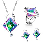 Uloveido Big Square Mystic Crystal Anhänger Kette Halskette Ohrstecker Solitaire Ring Fashion...