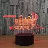 Lokomotive Alter Zug 3D Visuelle Illusion Lampe Transparent Acryl Nachtlicht Led Farbwechsel Touch...