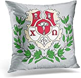 Haloxa Kissenbezug Pink Chi Crest Omega Letters Merchandise Griechisch Dekorative Kissenbezug Home...