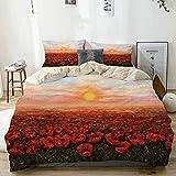Kanaite Bettwäscheset Beige, Wilder Schlafmohn mit Blütenblattfeld vor Sonnenuntergang...