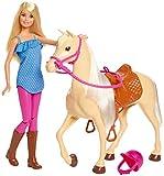 Barbie FXH13 - Pferd mit Mähne und Puppe mit beweglichen Knien, Puppen Spielzeug und Puppenzubehör...