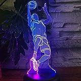 3D Fußballlampe Illusion Optische LED-Lichter Optik Illusionen Nachtlampe 7 Farben Touch...