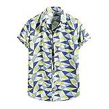 BIBOKAOKE Herren Hemden Kurzarm Hawaiihemd Hemd Funky Mehrfarbig Kariert Bedrucktes Blumenhemd...