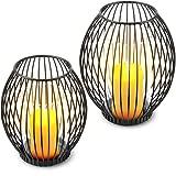 Decozey Kerzenständer schwarz Metall (2er Set) - Deko Windlicht Kerzenhalter mit Windschutz Dank...