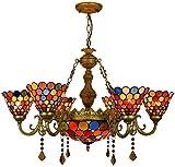 TTFFWW Tiffany-Art-Buntglas-Kronleuchter, Multi Heads Viktorianischen Stil Farbige Glaskunst...