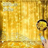 Molbory LED USB Lichtervorhang 2m x 2m, 200 LEDs Lichterketten Vorhang IP44 Wasserdicht mit 8...