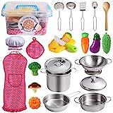 Juboury Küchenspielzeug Zubehör Kinderküche Kochgeschirr Edelstahl Pfannenset Schürze und...