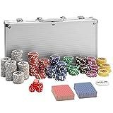 TecTake 402557 Pokerkoffer Pokerset mit Laser Pokerchips im Alu Koffer, 300 Chips, inkl. 2...