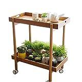JCNFA Rolling Kitchen Organizer Rack Aus Holz  Doppeldeckerwagen  Multifunktionskche  Mobiles Regal...