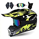 LEENY Motocross-Helm Motorrad-Off-Road-Helm Kinder Crosshelme Set mit Handschuhe/Maske/Brille,...