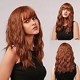 HAIRCUBE Lange braune gewellte Perücken für Frauen, synthetische Perücke aus natürlichem Haar...