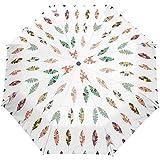 Feather Windproof Umbrellas Auto Open Close 3 Faltbarer Golf Starker, langlebiger, kompakter...
