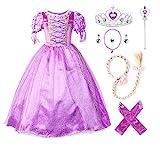 JerrisApparel Prinzessin Rapunzel Kleid Kostüm (110cm, Lila mit Zubehör)