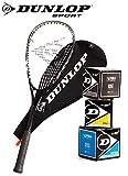 _Dunlop Squashset: Squashschlger BIOTEC LITE TI Silver Deluxe (1x Silver Deluxe Set inkl. 3 Blle)