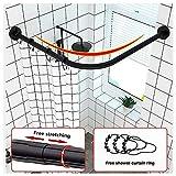M-TOP Duschvorhangstange Gebogene Spannung ohne Bohren rostfrei verstellbar 304 Edelstahl L-Form...