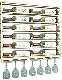 KDMB 2-in1 Designs Schwimmendes Weinflaschenregal und Glasgestell Wandmontage Metall Wein Champagner...