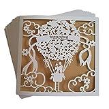 JinSu 20 Stück Hochzeit Einladungskarten, Laser Geschnittene Hochzeitsparty Einladungskarten mit...