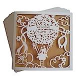 JinSu 20 Stck Hochzeit Einladungskarten, Laser Geschnittene Hochzeitsparty Einladungskarten mit...