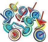 LISOPO 15 Stück Kreisel aus Holz Holzkreisel Spielzeug Bunt Spielzeugkreisel Mitgebsel ┃...