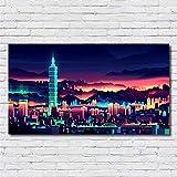 XWArtpic Wandbild Moderne Stadt Nacht New York Landschaft Poster wandkunst malerei Dekoration...