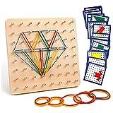 Homealexa Holz Geoboard Set Geometriebrett Montessori Holz Spielzeug für Kinder, Inspirieren die...
