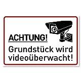 Achtung Videoüberwachung Schild (30x20 cm Kunststoff) - Warnschilder und Hinweisschilder -...