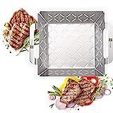 HEYNNA® Edelstahl Grillkorb - Grillzubehör Grillschale für Gemüse, Fleisch & Fisch auf dem Grill...