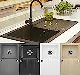 Granitspüle Küchenspüle Granit Siphon Einbauspüle Spülbecken Spüle Granit 76x45 (Schwarz -...
