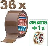 TESA 36 Rollen Klebeband Braun 64014 - Paketband 50mm x 66m - Paketklebeband leise abrollend -...