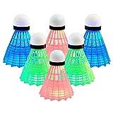 Senston LED Federball 6 Stück Badminton Beleuchtun Nylon/Gans Shuttlecock für Outdoor en Indoor...