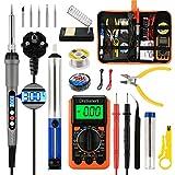 Distianert Lötkolben Set Elektronik, Lötkolben LED 60W 180-500℃ Einstellbarer Temperatur 19PCS...