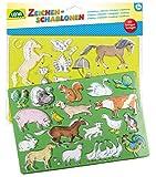 Lena 65767 - Zeichenschablonen Set Pferde, Katzen und Bauernhoftiere, mit 2 Schablonen mit Motiven...