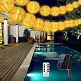 Solar Lichterkette Aussen Lampions, Qxmcov 9.3Meter 50 LED Laternen 8 Modi Wasserdicht Solar...
