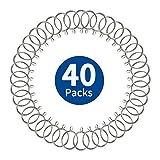 40 Stück Gardinenringe Silber, Vorhangringe aus Metall mit 38 mm Innendurchmesser, Gardinenstange...