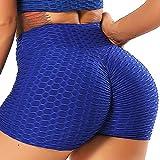 INSTINNCT Damen Sportshort Kurz Leggings Hohe Taille mit Bauchkontrolle Short A-Blau M