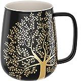 amapodo Kaffeetasse groß aus Porzellan mit Henkel 600ml Jumbo Kaffeebecher Dunkelgrau Geschenke...